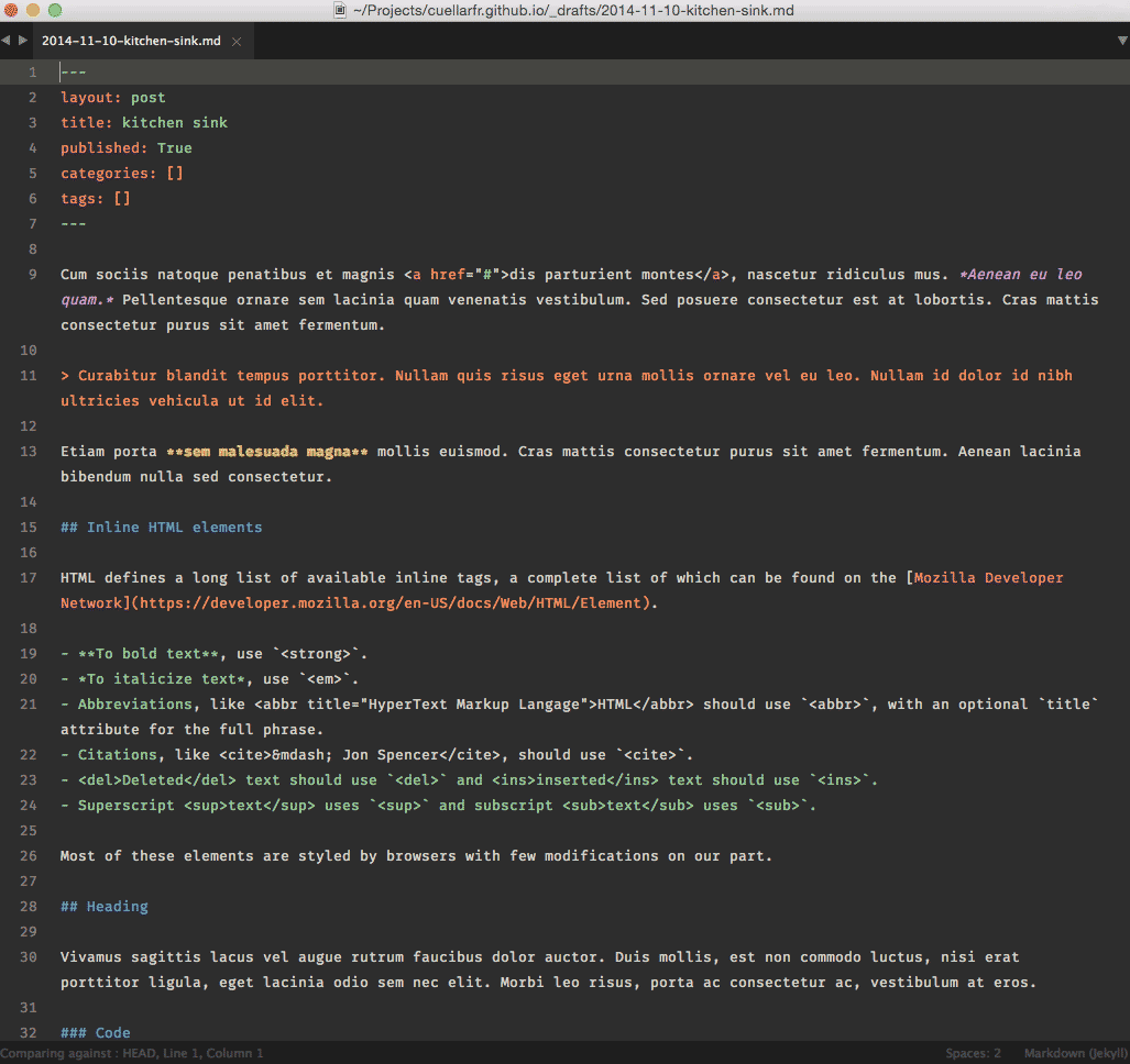 Screenshot of Sublime Text using Base 16 Eighties